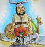 Сюжетный шарж на поклонника викингов.