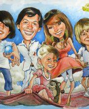 Шарж на семью из 5 человек. Все летят на ковре самолете.