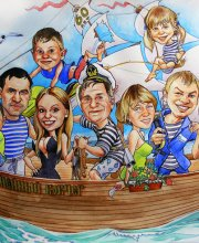 Шарж семейный ковчег, подарок папе на 60 лет. Нарисован юбиляр, рядом жена. И дети уже со своими семьями и детьми. Все плывут на корабле.