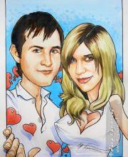 Портретный шарж пары