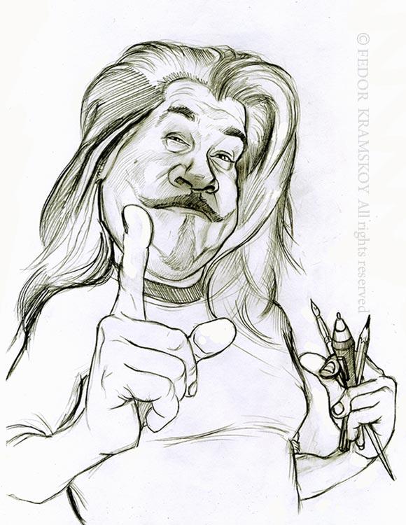 Автопортрет художника нарисован карандашом. Изображен Фёдор Крамской , в руке держит карандаши и кисть.