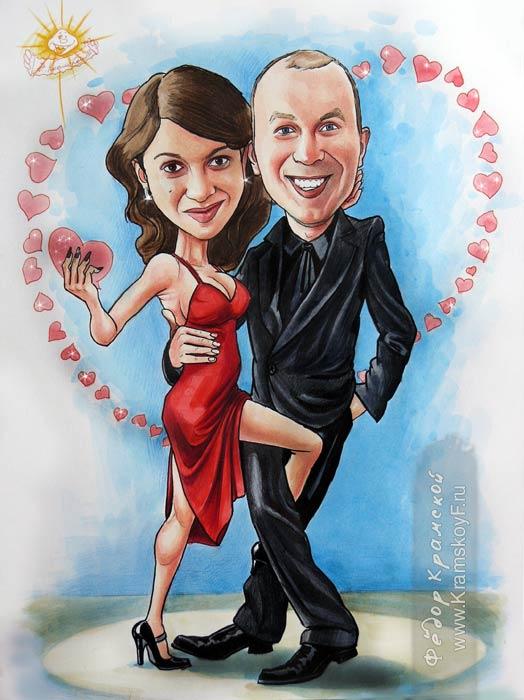 Шарж на День святого Валентина. Один из любимых сюжетов ко дню святого валентина. Он уверен в себе и брутален, она роковая красотка с шикарной фигурой и в красном платье. Пару окружают сердечки.