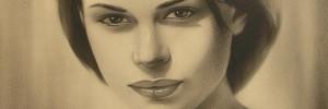 Портрет девушки выполнен в технике сухая кисть. Размер 40х50см.