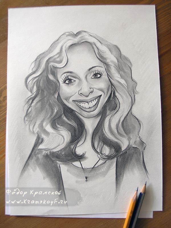 Веселая Даша. Дружеский шарж на девушку, нарисован карандашом.