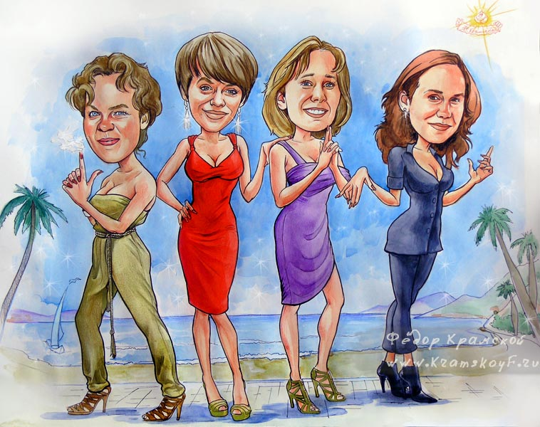 Примеры шаржей на 8 марта. Нарисованы четыре девушки.