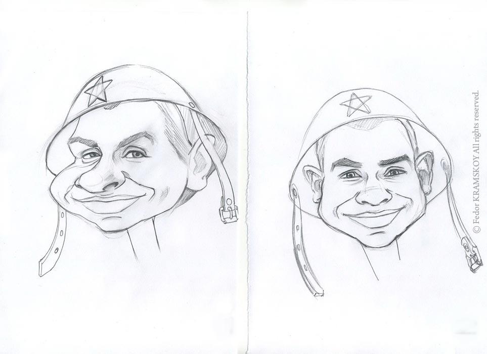 Делаю наброски лица для будущего рисунка. Заказчик приложил несколько фотографий своего сослуживца, я решил обыграть его образ. Несмотря на то, что на фотографии было трудно рассмотреть лицо, я постарался передать общие черты.