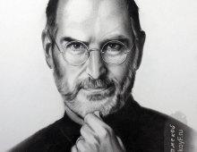 """Портрет Стива Джобса нарисованный в технике """"сухая кисть""""."""