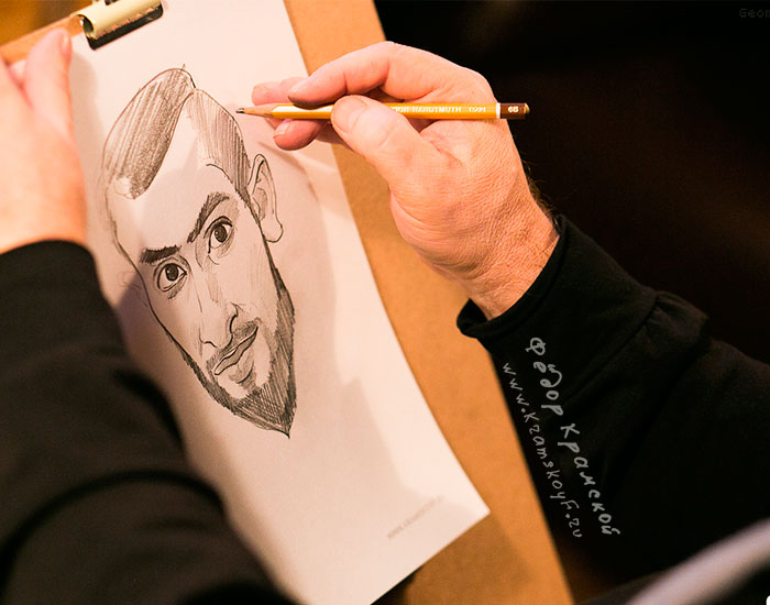 Шарж карандашом на парня.