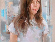 Портрет девочки нарисованный пастелью