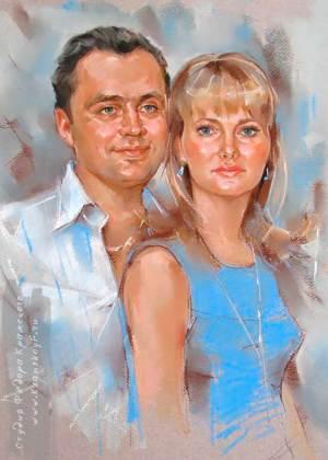 На пртрете изображены мужчина и женщина. Рисунок выполнен пастелью.